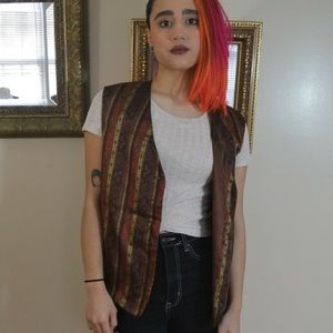 Vintage Brown Striped Vest with Paisley Print